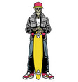 skull skater in style posing hold longboard vector image vector image