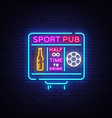 sports bar logo neon sports pub neon sign vector image vector image