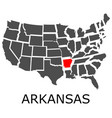 state of arkansas on map of usa vector image vector image