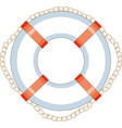 striped red and white lifebuoy with rope around vector image vector image