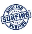 surfing blue grunge round vintage rubber stamp vector image vector image