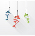 three fish skeleton on the hook with long shadows vector image