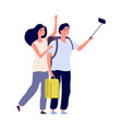 tourist selfie young couple with backpacks vector image vector image