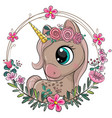 unicorn with flowers on a blue background vector image vector image