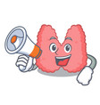 with megaphone thyroid character cartoon style vector image