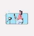 woman blogger recording music video vlog using