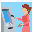 woman using atm machine vector image vector image