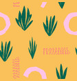 yellow tropical plant succulent seamless pattern vector image vector image