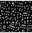 A lot of music signs and note on black background vector image