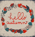 Autumn floral frame with leaves and text hello vector image vector image