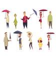 bad windy rainy weather funny cartoon icons set vector image