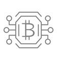bitcoin chip thin line icon video card or gpu vector image vector image