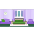 Bright colors bedroom interior with furniture vector image vector image