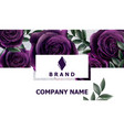 business card with roses flowers realistic vector image vector image