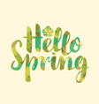 calligraphic inscription hello spring with leaf vector image
