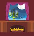 candlestick in window - hanukkah vector image