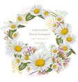 chamomile flowers round wreath card decor frame vector image