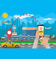 cityscape and airport with cab phone taxi app vector image vector image