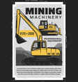 coal mining production industry mine machinery vector image