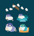color background with set sheep sleep time icons vector image