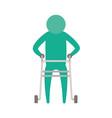 color green silhouette pictogram elderly man in vector image