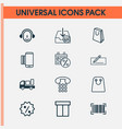commerce icons set collection of handbag money vector image vector image
