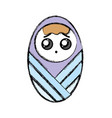 Cute baby boy with hairstyle in the blanket vector image