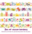 cute borders with baicons vector image vector image