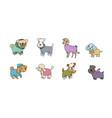 cute cartoon dog breeds happy animals vector image vector image