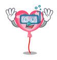 diving ballon heart character cartoon vector image