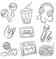 doodle of various music element vector image