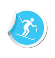 downhill skiing icon round blue vector image