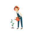 farmer is watering the crop flat design farmers vector image vector image