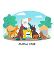 feeding homeless dogs composition vector image vector image