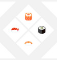 flat icon sushi set of seafood salmon rolls vector image vector image