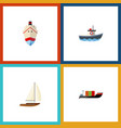 flat icon vessel set of yacht transport tanker vector image