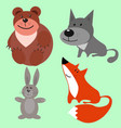 four forest animals on a uniform background vector image