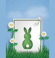 Greeting card made form rabbit on garden