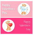 happy valentines day posters set with teddy bears vector image vector image