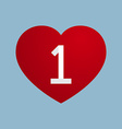 heart with number one vector image vector image
