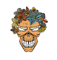 Human skull and flowers vector image