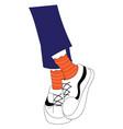 legs in blue jeanse orange socks and white vector image