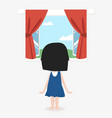 little girl standing back with open window with a vector image
