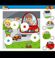 match pieces puzzle with kid boys and toys vector image