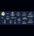 mega set nautical useful design elements vector image