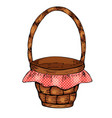 picnic basket isolated on white background vector image vector image