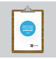 poster bulldog clip tablet vector image vector image