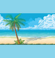 seamless background with coast ocean palms vector image