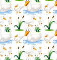 Seamless background with duck in the pond vector image vector image