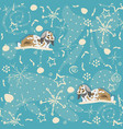 seamless winter pattern with bunnies on blue vector image vector image